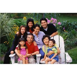 Large asian family