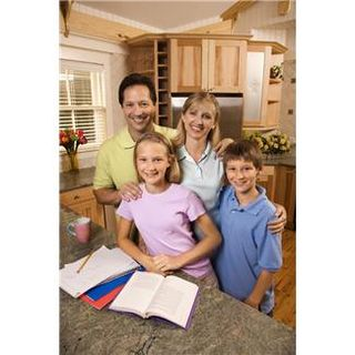 Family with kids in kitchen