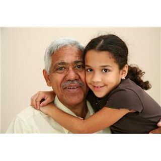 Grandchild with grandfather