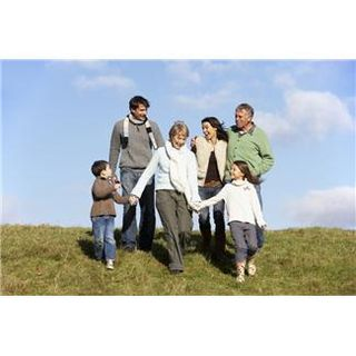 Family on hill