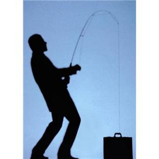 Man with fishing pole and briefcase