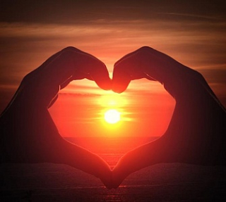 Heart in sunset
